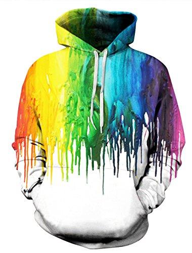 Leapparel 3D Cool Kapuzen Pullover Sweatshirt Top für Männer und Frauen mit Warm Hoody Lustige Grafik gedruckt Jacke Weiß Farbe L / XL (Freund Hoody)