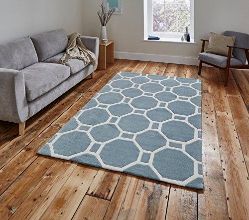 Hong Kong Octagon & Rechteck Teppich 100% Acryl groß Geometrische Design Matte (verschiedene Größen und Farben), acryl, hellblau, 150 x 230 Cm (Schwarz Octagon Teppich)