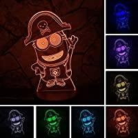 Anime de dibujos animados Minions RGB Luz de la noche 7 colores degradado dormitorio del niño