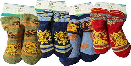 Disney Der König der Löwen Baby Socken 4er Pack - The Lion King - Lach mit Simba - Blau/Rot/Kaki/Mehrfarbig