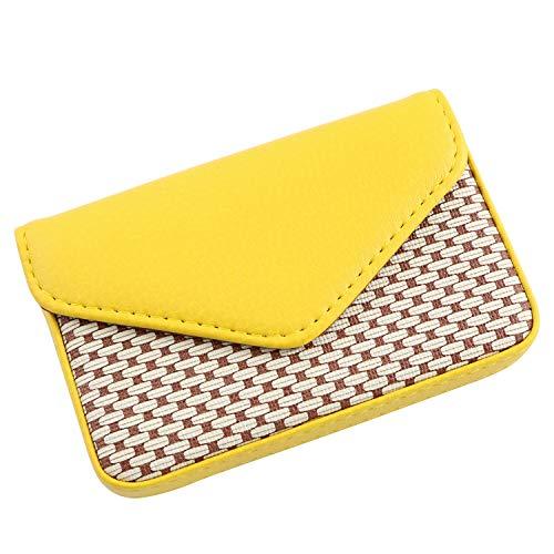 RuiLing Visitenkartenhalter mit Magnetverschluss, perfektes Geschenk - Mehrzweck-PU-Leder Brieftasche für Kreditkarten-Ausweiskarten (blau) gelb - Brieftasche Mehrzweck