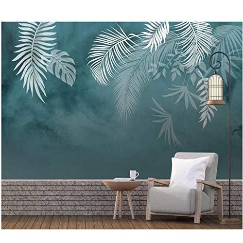 Mrlwy daparati Foglie tropicali Carta da parati Sfondo blu Camera da letto impermeabile Home Decor di lusso Nordic Wall Paper 3D-250X175CM