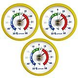 Lantelme 6843 Kühlschrankthermometer Set 3 Stück - Kühlschrank Thermometer Temperaturanzeige +/- 50 °C - Farbe Gelb