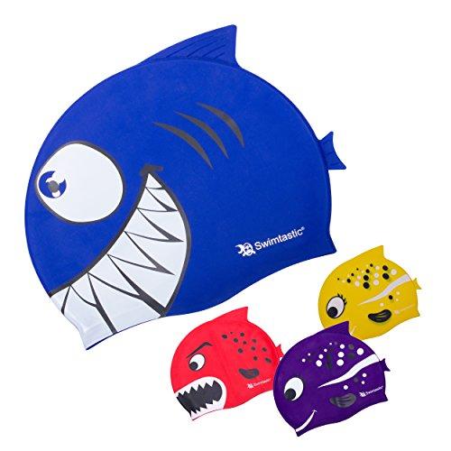 Swimtastic, cuffia da nuoto per bambini, con pesciolini e squali–divertenti per bimbi e bimbe, blue shark