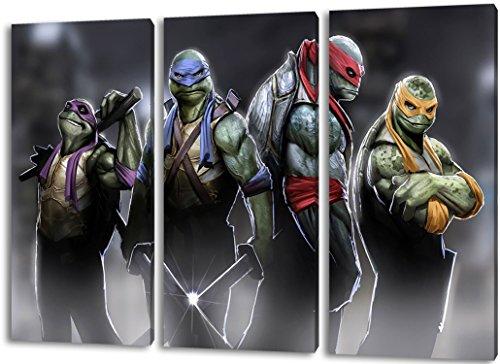 Ninja Turtles 3teilig im Gesamtmaß 120x80 cm, Leinwandbild auf Holzrahmen gespannt, Leinwandbild, 1A Qualität zu 100% Made in Germany! Kein Poster Kein Plakat! Echtholzrahmen mit beigelieferten Zackenaufhängern. Fertig bespannt, Sofort (Ninja Turtles Zu Kämpfen)