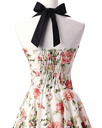 MISSMAO Damen Retro Blumen Kleid 50s Abschlussball Kleider Cocktail kleid Neckholder Rockabilly Swing Kleid Beige & Rosa Forelle
