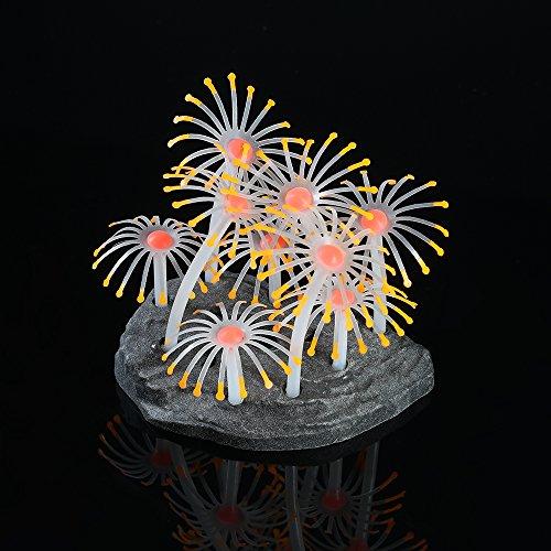 Decdeal Glühende Künstliche Koralle mit Basis für Aquarium Dekoration