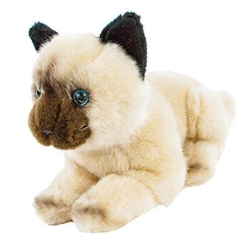 Braune Katze Ohren (Kuscheltier Katze Tamtam 30 cm liegend Perserkatze Siamkatze Plüschtier)