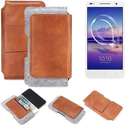 K-S-Trade für Alcatel U5 HD Dual SIM Gürteltasche Schutz Hülle Gürtel Tasche Schutzhülle Handy Smartphone Tasche Handyhülle PU + Filz, braun (1x)