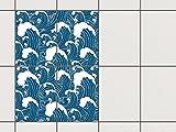 creatisto Bad-Folie Fliesen Zum Aufkleben | Klebe-Fliesenaufkleber Küchenfliesen Wanddeko | 15x20 cm Design Motiv Große Welle - 4 Stück