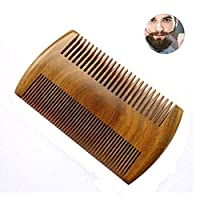 Beard Comb, Bebester Wooden Comb Pocket Comb for Men Natural Sandalwood Antistatic No Static Dual Action Beard Comb with Fine & Coarse Teeth for Beard Hair and Mustaches