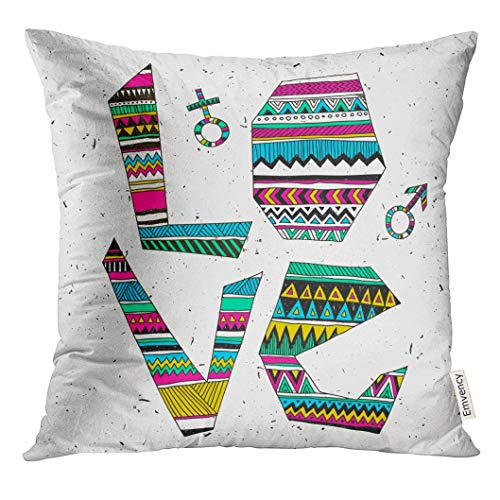 Cupsbags Throw Pillow Cover Heart Tribal with Love Text Ethnic Style Design Graphic for T-Shirts Doodle Freehand Wild Decorative Pillow Case Home Decor Square 18x18 Inches Pillowcase
