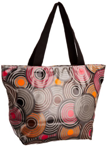 Re-uz Medium Oilcloth Tote Dot2dot, Damen Tote Grey/Pink/Orange
