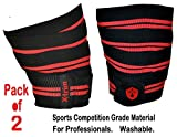 #9: Xtrim DURA FIT - KNEE WRAP - SPORTS COMPETITION GRADE - PACK OF 2 ( TWO ) - Washable Elasticized Polyester Knee Support for Extreme Knee Stability in all sports activities. Length 2 Meters ( 78 inches) and Width 75 mm. Knee Band with HOOK AND LOOP Closure. High Grip, Low Compression, Soft, Flexible, Washable, Durable and Breathable. Red Line Elasticized Nylon Wrap.