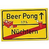 Beer Pong Schild - Ortsschild, Geschenkidee lustiges und kleines Geschenk Einweihungsfeier Studenten, Mitbringsel Einweihungsparty WG-Party, Party Deko - Wanddeko, Mallorca-Party Zubehör Trinkspiele