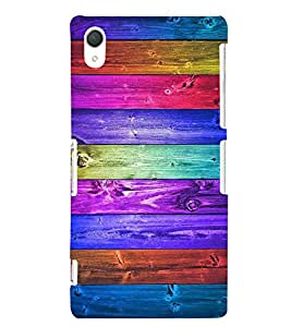 Multi Colour Wooden pattern 3D Hard Polycarbonate Designer Back Case Cover for Sony Xperia Z2