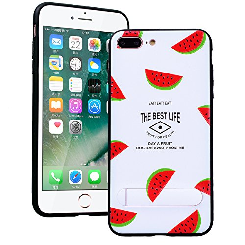 SMART LEGEND iPhone 7 Plus Hülle mit Standfunktion Schutzhülle mit Frucht Obst Muster Shiny Tasche Skin Schale Hart PC Backcover Case für iPhone 7 Plus Hartschale Handy Tasche - Kiwi Wassermelone