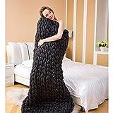 NYJ Tejer a Mano Mantas de Punto Grueso Gigante Grueso para la Cama de Invierno/sofá lanzar Crochet Mantas de Tejer Mejores Regalos (Color : A, Tamaño : 100 * 120)