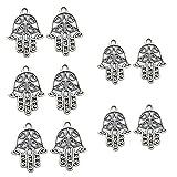 Brussels08 - 10 Abalorios Colgantes de Mano de Fátima Antiguos, para Hacer Collares y Pulseras