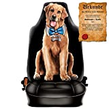 Witziger Sitzbezug fürs Auto mit hochwertigem Aufdruck - Funny Dog - Im SET mit gratis Urkunde Spassvogel 1. Klasse