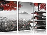 Japanischer Tempel im Herbst Schwarz/Weiß 3-Teiler Leinwandbild 120x80 Bild auf Leinwand, XXL riesige Bilder fertig gerahmt mit Keilrahmen, Kunstdruck auf Wandbild mit Rahmen, gänstiger als Gemälde oder Ölbild, kein Poster oder Plakat