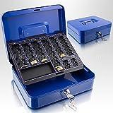 25cm Blau Geldkassette Münzkassette Geldkasse Geld Kasse Safe Zählkassette Transportkassette Kasse Transportbox 250mm