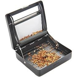 Machine semi-automatique à rouler des cigarettes (machine à rouler) en alliage de zinc (9cm x 8cm x 2cm), noir matte, Mod. 753 DE