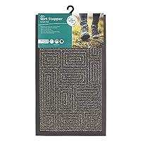 JVL Patterned Dirt Stopper Scraper Maze Design Entrance Door Mat, TE PP/Rubber, Grey, 45 x 75 cm