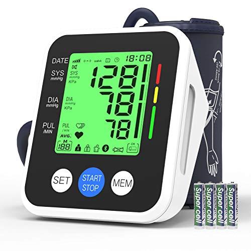Misuratore di Pressione da Braccio Digitale, AUCEE Sfigmomanometro Digitale, Misurare Sanguigna Pressione e frequenza cardiaca,3.5''LCD Schermo Retroilluminazione, 2 * 99 Memoria per 2 Utenti