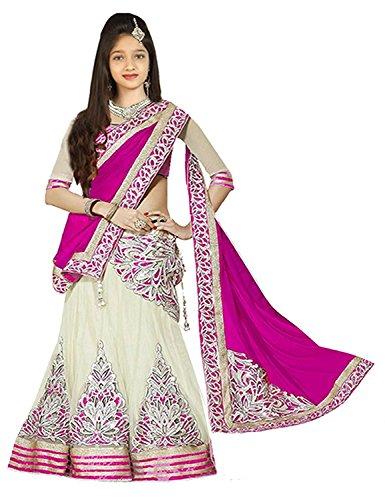 Clickedia Girls Semi-Sticthed Net Lehenga Choli/ Chaniya Choli (Designer Kids_3360 Pink Lehenga_Pink off-white_8-12 Years)  available at amazon for Rs.349