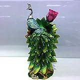 Ludage Wohnaccessoires Handwerk, Skulptur Pfau Vase Ornamente Grün Pfau Ornamente Business Office Geschenke Home Dekoration Harz Handwerk