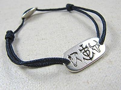Bracelet cordon tréssé petit modéle -camargue : taureau, cheval et croix de croix de camargue plaque rectangle mm - étain finition argent 925