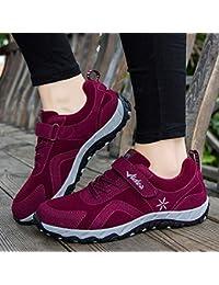outdoor Zapatos Que Caminan De La Madre, Zapatos Deportivos De Mediana Edad Y Mayores, Zapatos Viejos Pegajosos Mágicos,Rojo,41