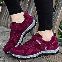Casual Zapatos Que Caminan De La Madre, Zapatos Deportivos De Mediana Edad Y Mayores, Zapatos Viejos Pegajosos Mágicos,Rojo,39