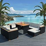WEILANDEAL Set Jardin 32-Teiliges Esszimmer Ratan SINTETICO und WPC Schwarz Stahl inoxidablematerial des Tischplatte: WPC