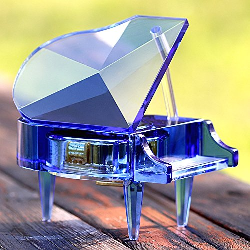 Lx.AZ.Kx Home decorazioni ornamenti continentale Crystal Music Box regalo di compleanno,Blue Music Box