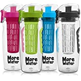 Fruit Infuser Water Bottle 900ml - Premium, Durable, Large - BPA Free Tritan, Flip Lid, Leak Proof Design - Sports, Camping, Yoga, Hiking, Detox, Healthy, Clean, Paleo Diet - Free Infusing Starter eBook & 100% Money Back Guarantee by More Water