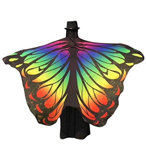 Chiffon Umschlagtücher, ESAILQ Damen Schöner Chiffon Schmetterling / Pfau Flügel schal überwurf Fairy Damen Nymphe Pixie Kostüm Zubehör 197 x 125CM - Chanukka Kostüm