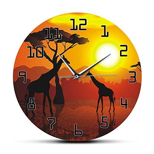 YJSMXYD Wanduhren Wildlife Giraffe Kunst Dekorative Serengeti Afrikanischen Sonnenuntergang Savannah Safari Dekor Hängende Uhr Uhr Wohnzimmer Schlafzimmer, Kinderzimmer, Hotel Home Decoration (Safari-dekor Wohnzimmer Für)