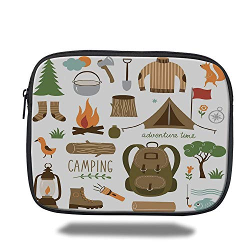 Tablet Bag for Ipad air 2/3/4/mini 9.7 inch,Adventure,Camping Equipment Sleeping Bag Boots Campfire Shovel Hatchet Log Artwork Print,Multicolor,Bag Lightweight Boot Top