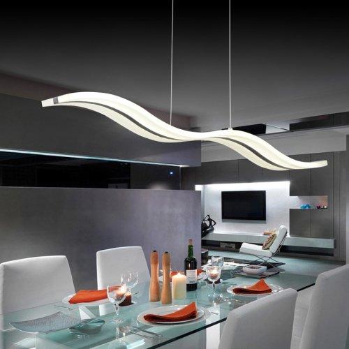 design moderno, con lampadine a LED da incasso a soffitto, 40 W, con onde-Lampadario a sospensione cromato, per il montaggio a incasso per soggiorno, camera da letto, sale da pranzo, colore: bianco