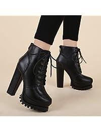 KHSKX-In Inverno Il Coreano Ha Lace High Heeled Shoes Volgare Tacco Martin Stivali Impermeabili Piattaforma Spessa In Breve Gli Stivali…