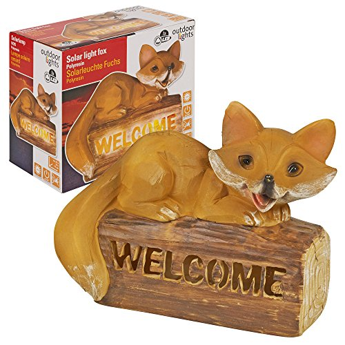 Funciona con energía solar Welcome Sign Fox con luz LED lámpara de patio jardín camino farol