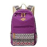 Moollyfox Niña Bohemia punto de impresión Mochila Linda Peso ligero Ordenador portátil bolso de escuela Bolsa de viaje para adolescente Morado