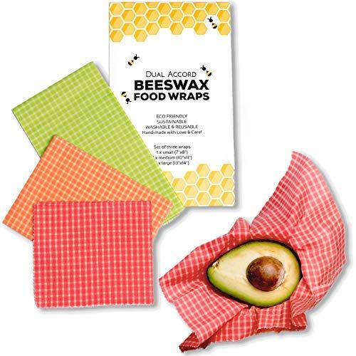 Beeswax wrap - involucri di cera d'api riutilizzabile, zero waste reusable food wraps, 3 dimensioni: grande verde, medium arancione, piccolo rosso