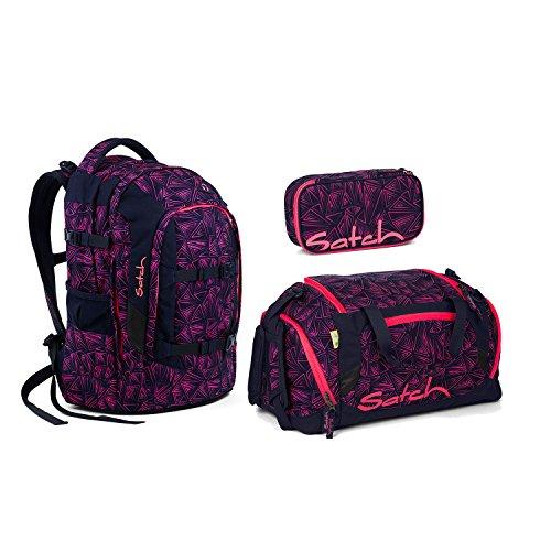 Satch Pack - 3 tlg. Set Schulrucksack - Farbauswahl - Schulrucksack + Sporttasche + Schlamperbox (Satch Pack Pink Bermuda Schulrucksack Set 3tlg.)