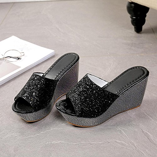 pantofole Sandali Koly Pantofole Donna Scarpe da punta aperte Flip Flop di pattini dell'alto tallone del cuneo Black