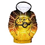 Herqw61 Damen Herren 2018 3D Druck Pokemon Pullover Hoodie Pokemon Lets Go Pikachu Kapuzenpullover Sweatshirt(S(EU-XS) Mehrfarbig)
