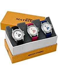 Matrix White Dial & Leather Strap Analog Watch For Women/Girls-(Combo Of 3)-TRP-28