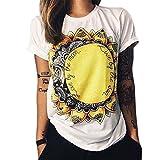 BienBien Camisetas Mujer Manga Morta Verano Estampadas Búho Cartas Ojo de Impresión T Shirt ...